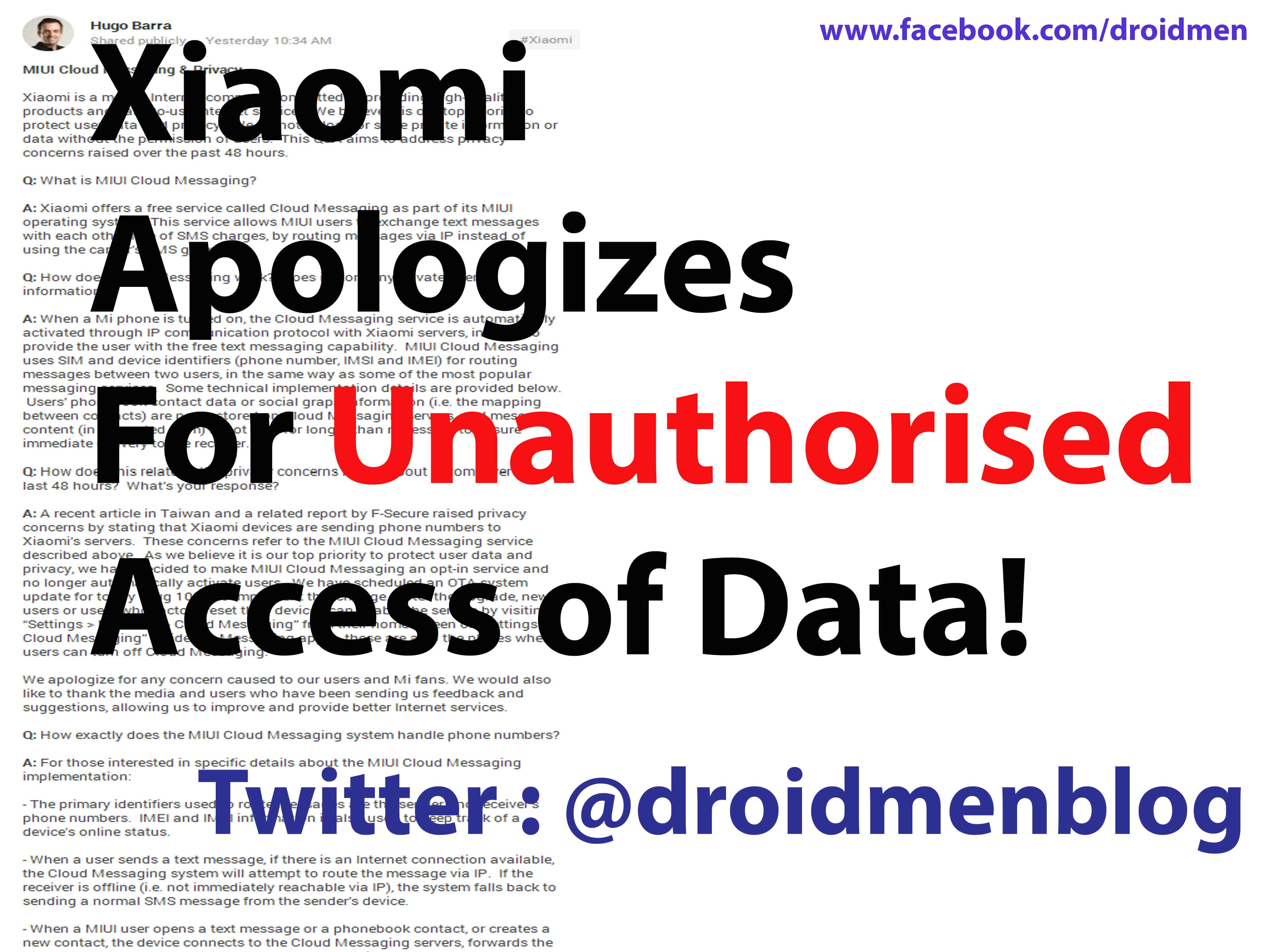 Xiaomi Apologizes for Unauthorized Access of Data 1