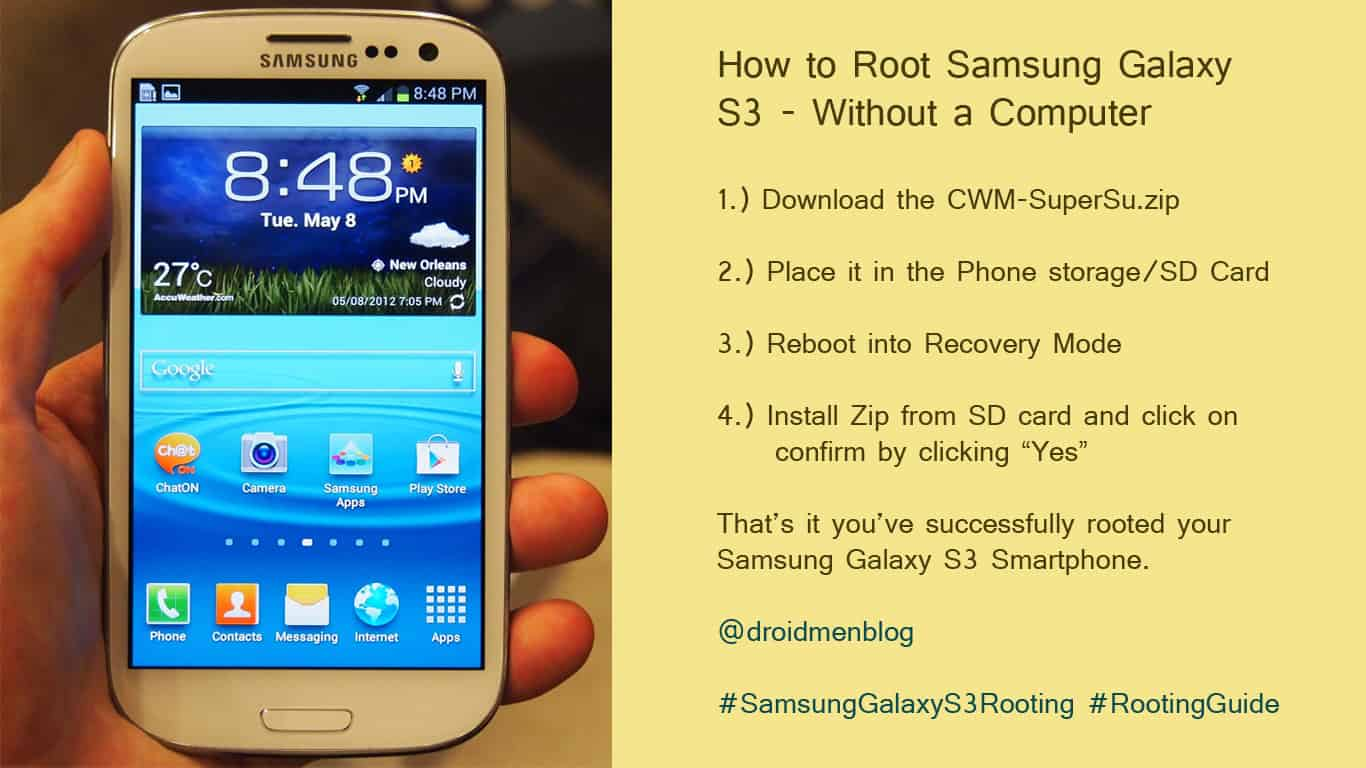 How to Root Samsung Galaxy S3 without a Computer 1