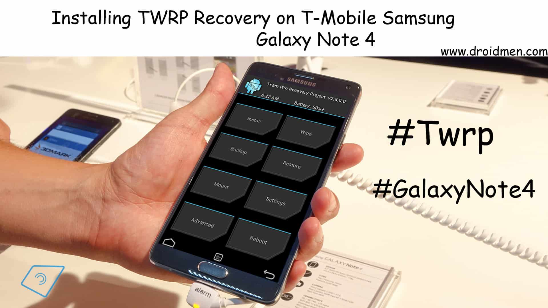Install TWRP Recovery on T-Mobile Galaxy Note 4 using Odin. 1