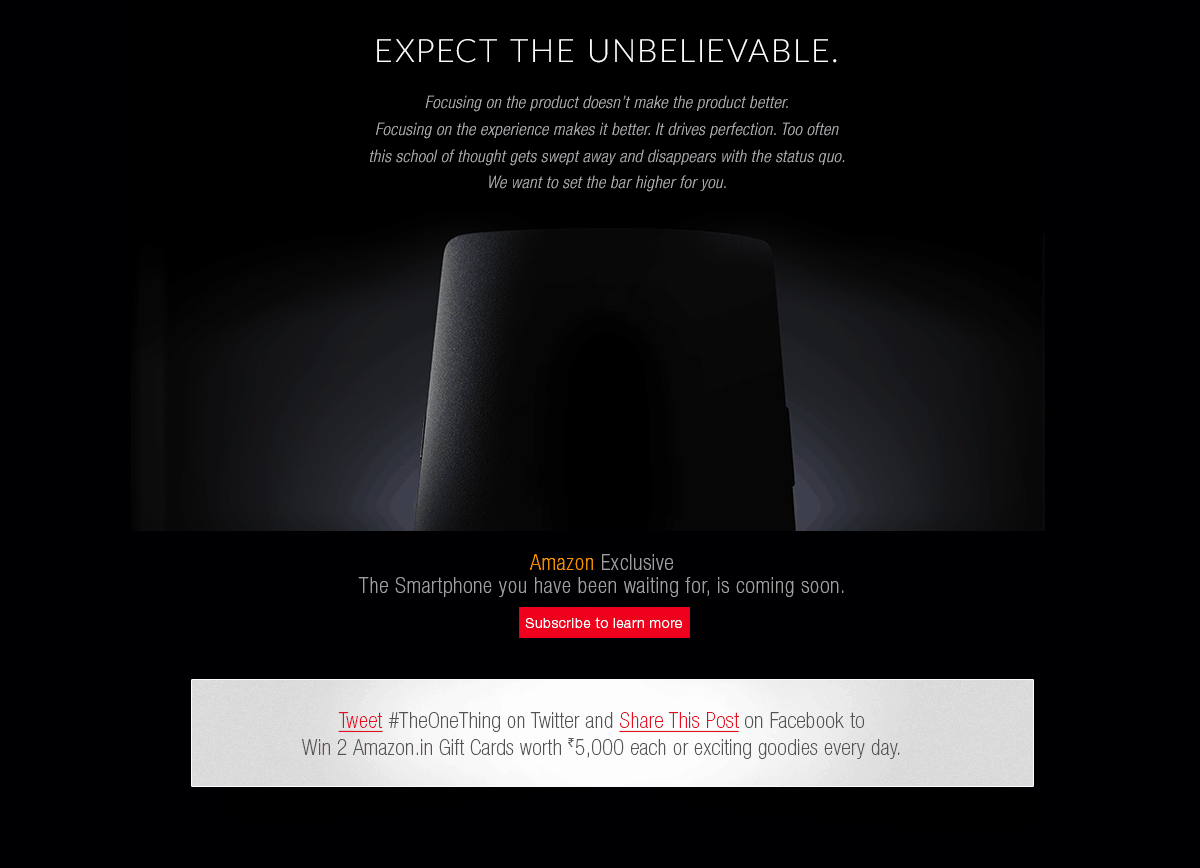 OnePlus One : Exclusive Launch at Amazon India 1