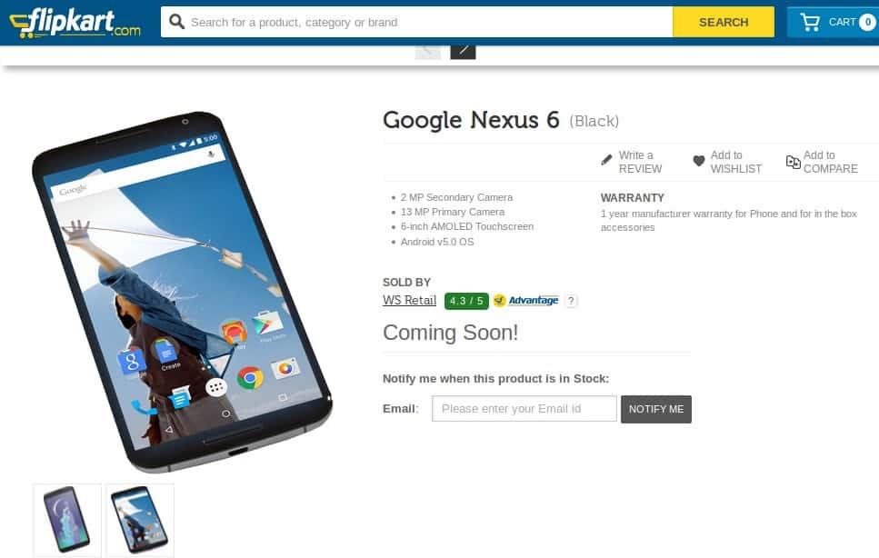 Nexus 6 Listed at Flipkart 1