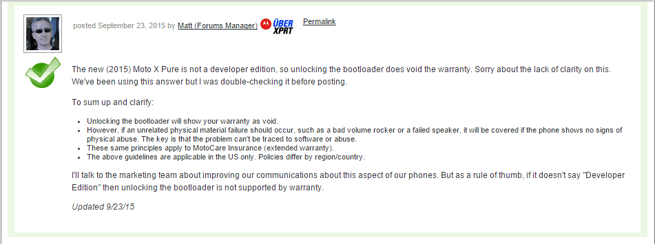 Unlocking Bootloader on Moto X Pure Edition will void your warranty. 1