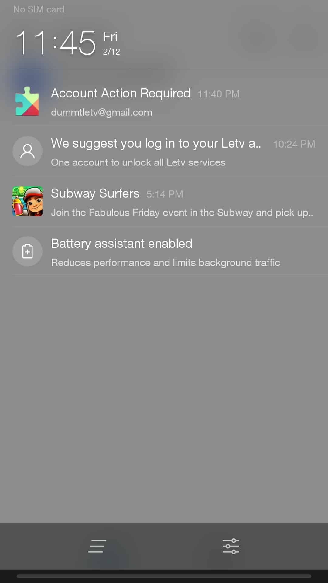 LeTV Le 1S Notification Center - No Quick Settings