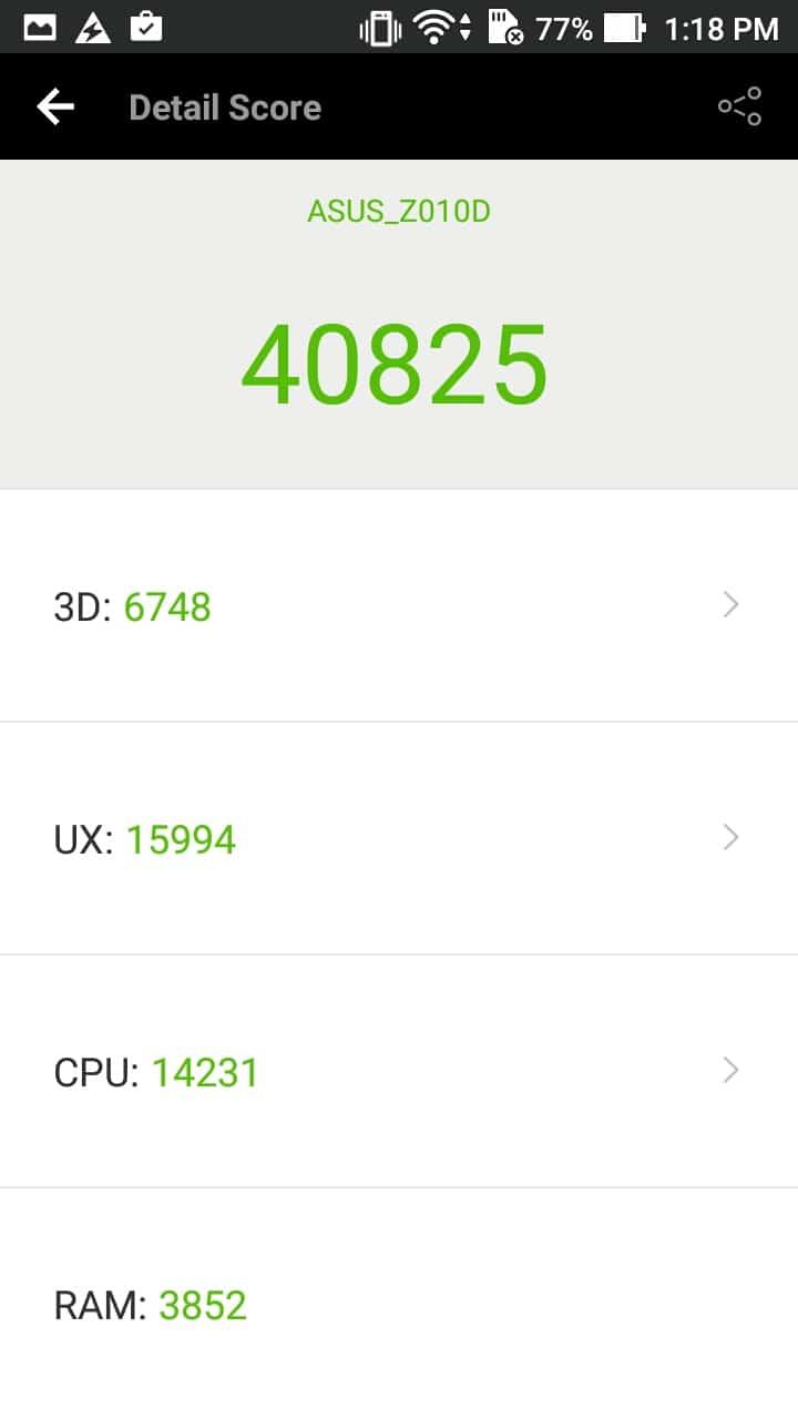 Antutu Score Asus Zenfone Max 2016