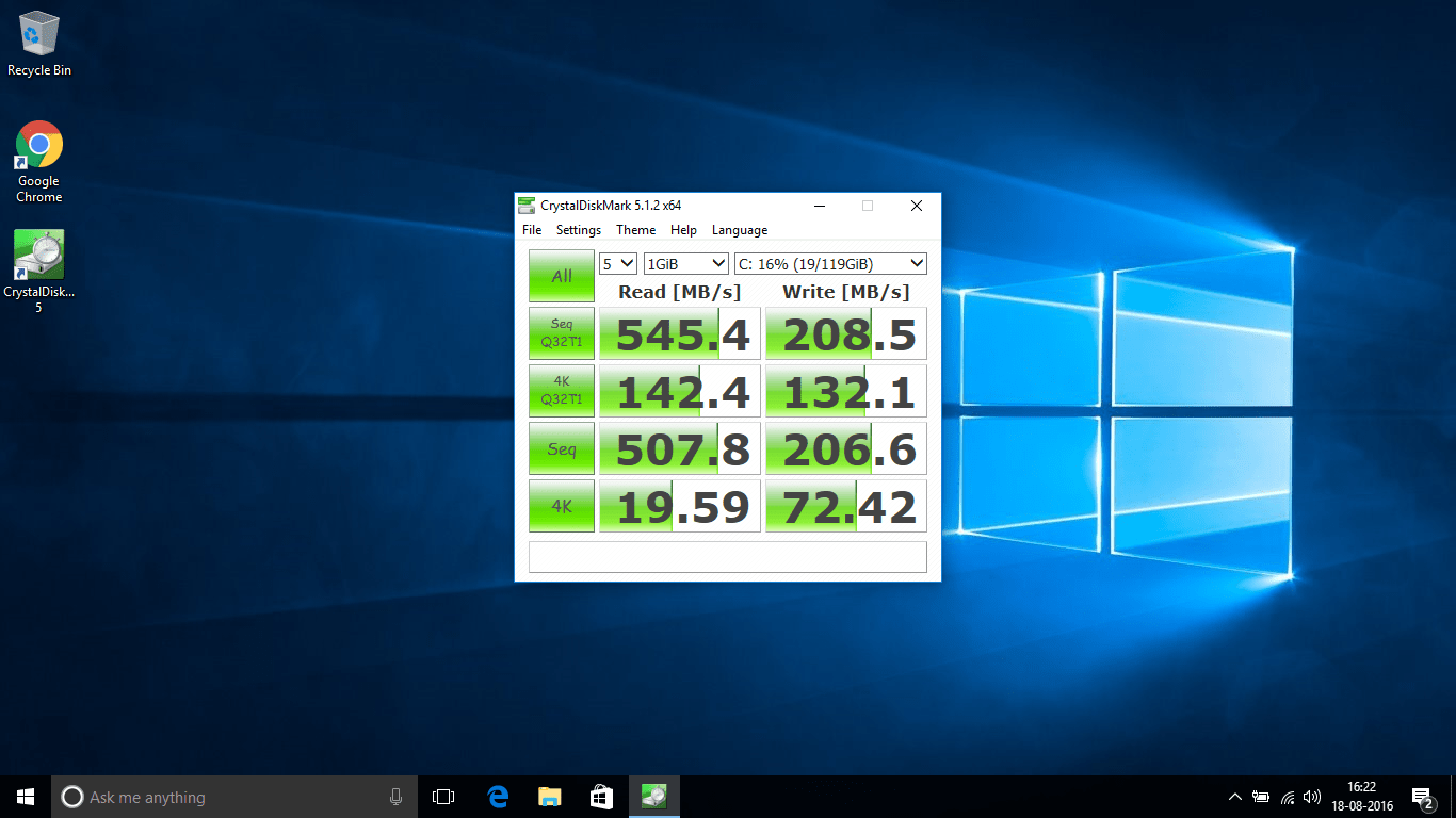 Crystal Disk Benchmark Test on Transcend SSD360S