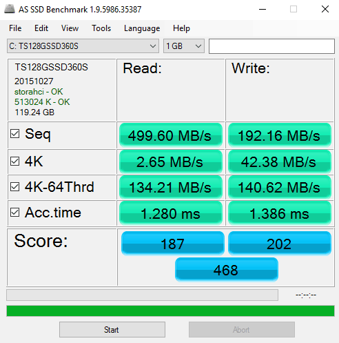Transcend SSD360S AS-Benchmark Test