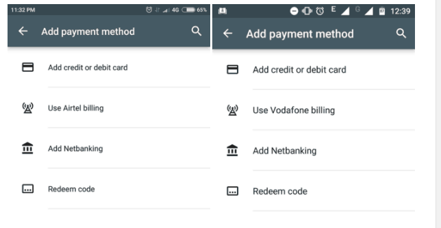 Google Play Store Now Provides Airtel and Vodafone Direct Carrier Billing in India