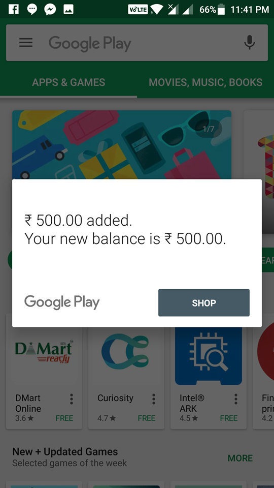 Recharge Google Play Store Gift Card PayTM Freecharge